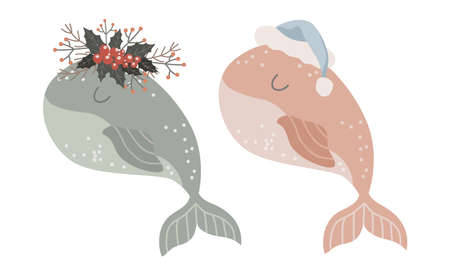 Set of Isolated baby whale with wreath of winter flowers and in santa hat. Vector illustration