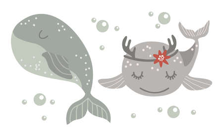 Set of Isolated baby whale. Vector illustration