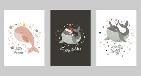 Set of Isolated christmas cards with baby whale with crown, in santa hat and in deer antlers. Vector illustration