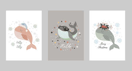Set of Isolated christmas cards with baby whale in santa hat, in wreath of winter bouquet and with dark glasses. Vector illustration 矢量图像