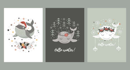 Set of Isolated christmas cards with baby whale in santa hat, in wreath of winter bouquet and with deer antlers . Vector illustration 矢量图像