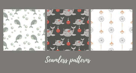 Set of christmas seamless patterns with baby whale . Vector illustration