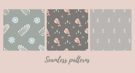 Set of christmas seamless patterns with baby whale in santa hat and with winter branches and snowflakes . Vector illustration