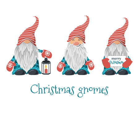 Set of Christmas gnomes isolated on white background. Vector 矢量图像