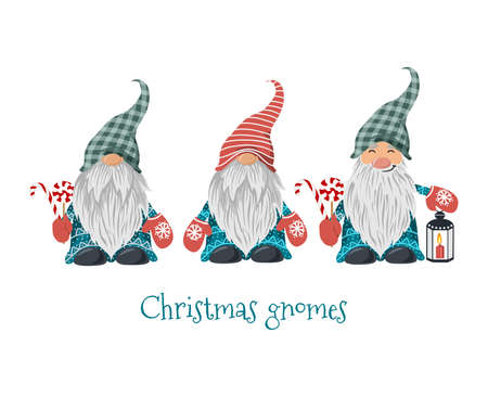 Isolated Christmas gnomes with lollipop and lantern with candle. Vector
