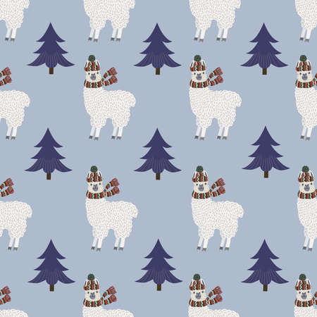 Seamless pattern of llamas and Christmas trees