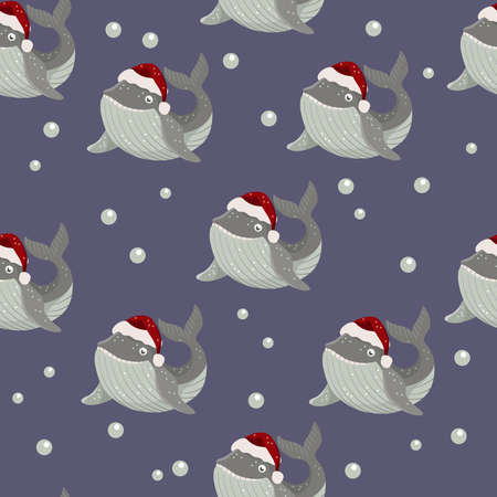 Seamless pattern with whale in red santa hat
