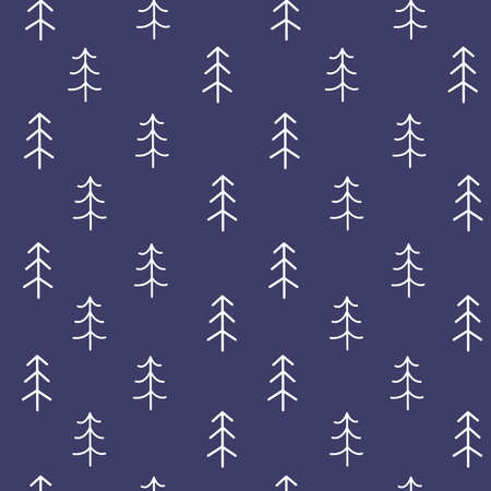 Seamless pattern with Christmas trees on blue