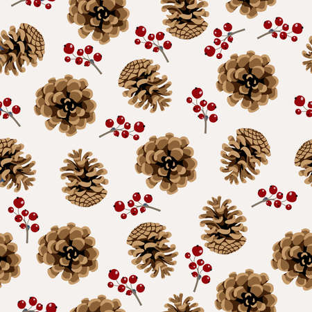 Seamless with pine cone and berries on white