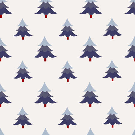 Seamless pattern with Christmas trees on white