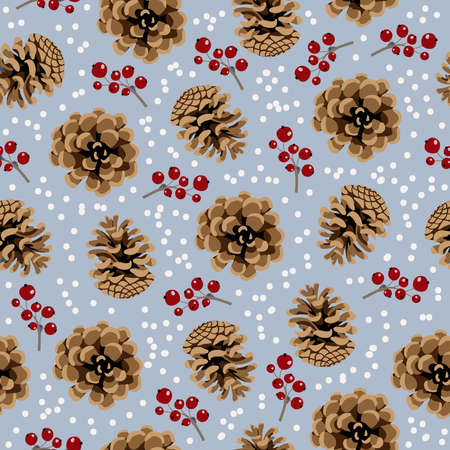 Seamless  pattern with pine cone and berries on blue 矢量图像