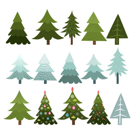 Collection of Christmas trees isolated on white background, vector