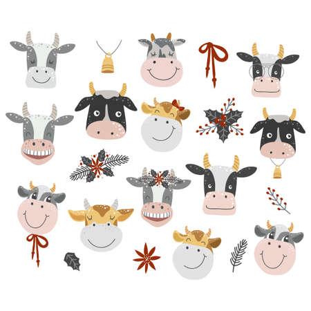 Funny faces cows illustration. Cartoon cow set. 矢量图像