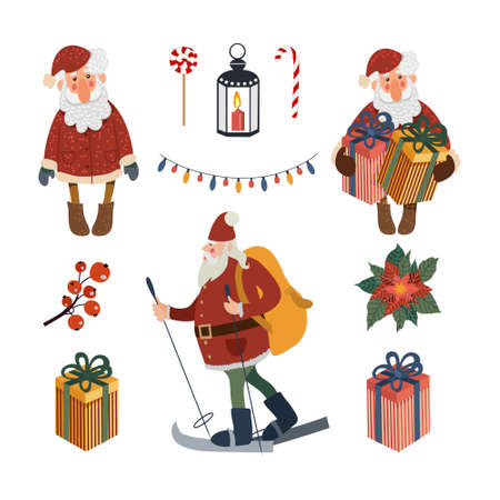 Set of Santa Claus Isolated in White Background. Vector 矢量图像