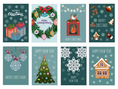 Merry Christmas greeting card set with cute Christmas tree, gifts, snowflakes and gingerbread. Vector