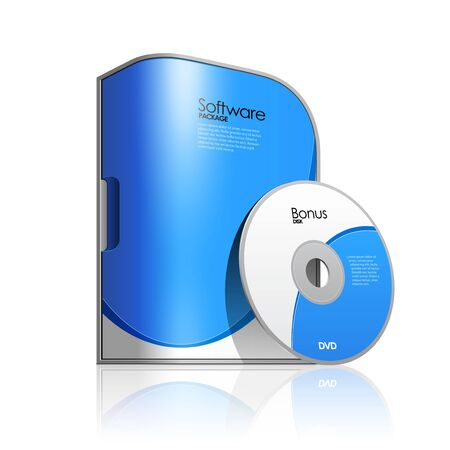 Blue Software Box With Rounded Corners  Vector