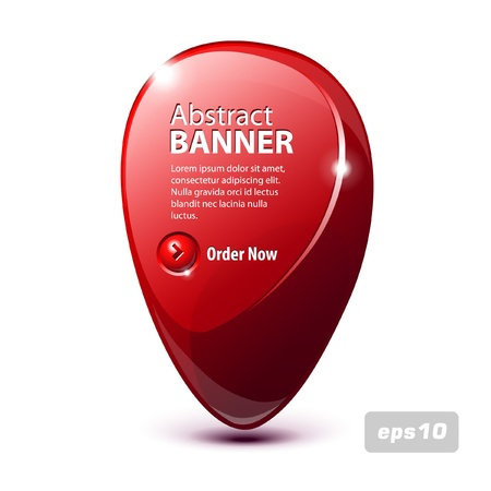 Abstract Shiny Glass Banner Red With Button Order Now  Vector