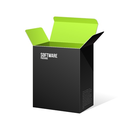 product packaging: Software Package Box Opened Black Inside Green  Illustration