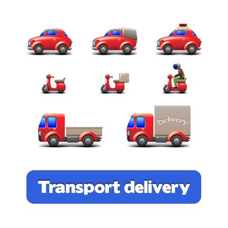 ダンプ: トランスポート配信 Web アイコン セット スクーター, トラック, 車, オートバイ  イラスト・ベクター素材