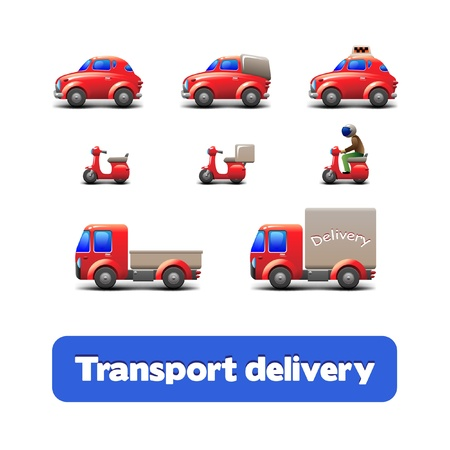 Transport Delivery Web Icon Set  scooter, truck, car, motorcycle  Vector