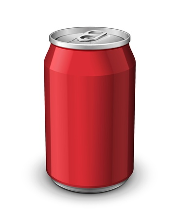 drinking soda: Red Aluminum Can