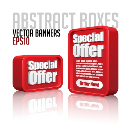 3D Plastic Abstract Banners Set Red Vector Illustration