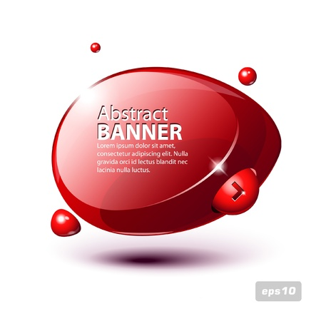 Abstract Shiny Glass Banner Red Horizontal With Button Order Now Vector