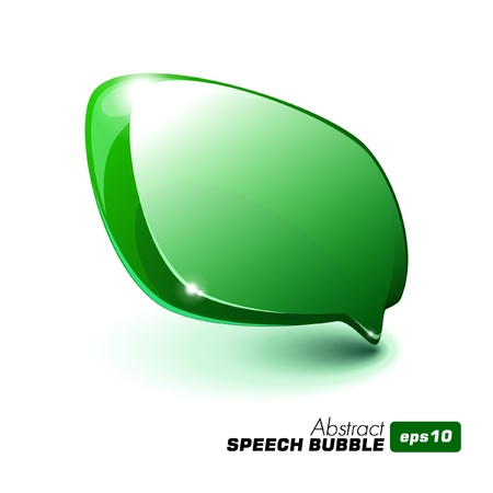 button icons: Abstract Glass Speech Bubble Green