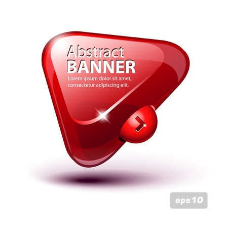 triangle button: Abstract Glass Triangle Banner Red Illustration