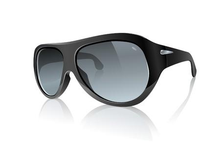 Cool Foto realistische zwarte zonnebril Raster Versie Vector Illustratie