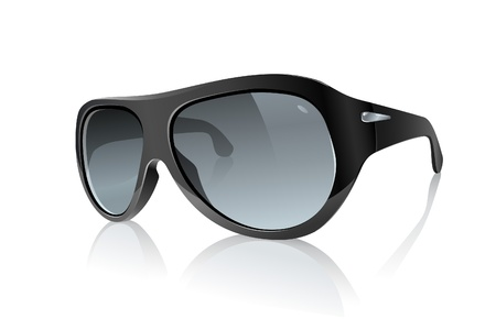 sun protection: Cool Photo Realistic Black Sunglasses  Raster Version