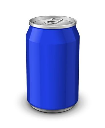 lata de refresco: Aluminio bote azul Vectores