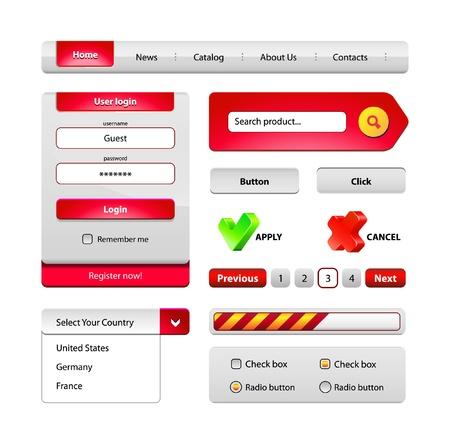 radio button: Red Hi-End Web Interface elementi di design: pulsanti, menu, barra di avanzamento, pulsante radio, la casella di controllo form di login, la ricerca, l'impaginazione, le icone. Vettoriali