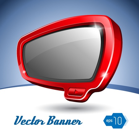 Red Shiny Plastic Banner Like TV Vector