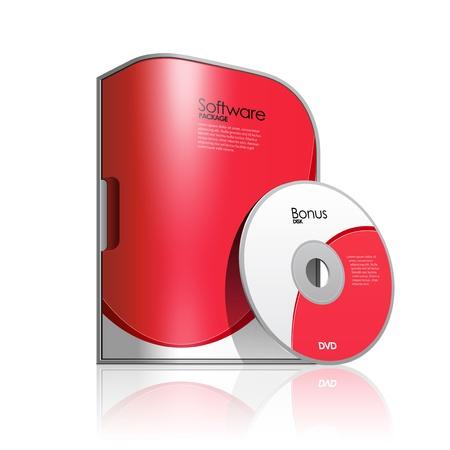 Software Box Rojo con esquinas redondeadas Ilustración de vector