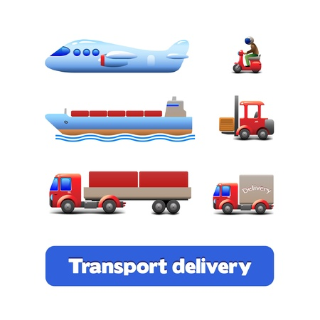 Transport Delivery Web Icon Set Vector
