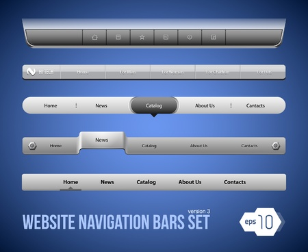 Web Elements Navigation Bar Set Version 1 Vector