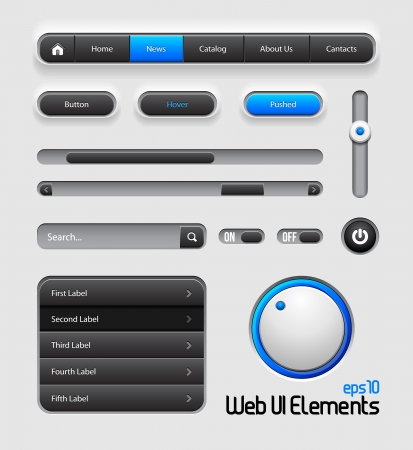 Web UI Elements Design Gray Blue Иллюстрация