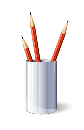 Three Red Vector Pencils In Glass Vector