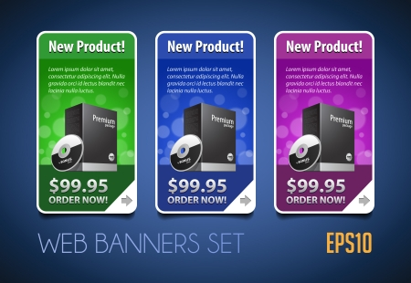 software box: New Product Round Corners Banners Set Vector Colored 1  Blue, Purple, Violet, Green  Showing Products Purchase Button