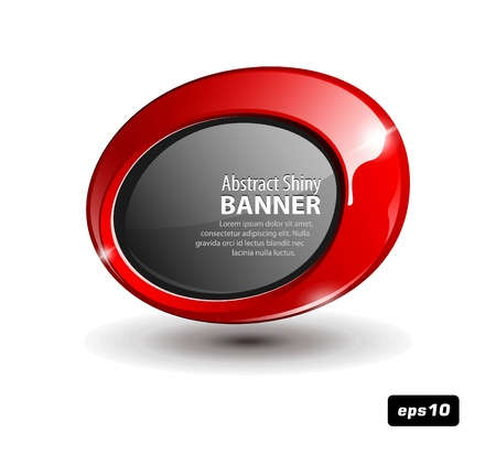 Shiny Red Round Banner Vector