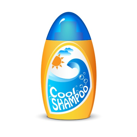 sun lotion: Botella de champ� amarillo fresco