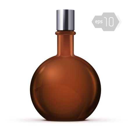 Brown Glass Round Alcohol Bottle Or Perfume Bottle Vector