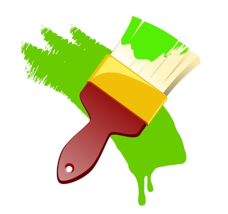Red Paint Brush With Green Paint Vector Stock Vector - 13734999