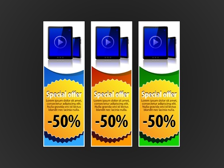 Special Offer Banner Set Vector Colored 7  Blue, Red, Green  Showing Products Purchase Button Pad Stock Vector - 13734994