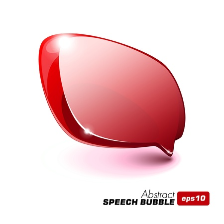 Abstract Glass Speech Bubble Red Vector