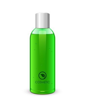 lotion: Bottle Of Gel Green  Vector Version