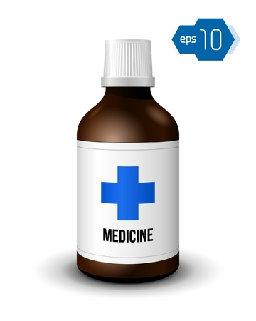 Brown Medicine Bottle With Cross Vector