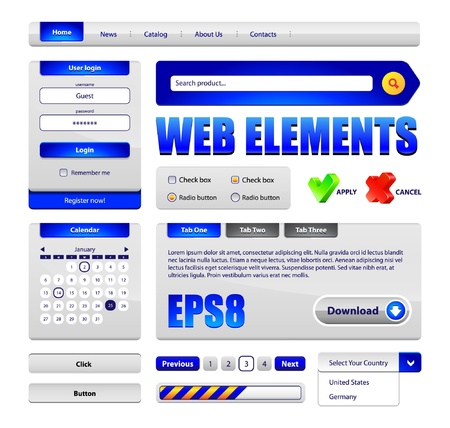 Hi-End Web Interface Design Elements Version 2  buttons, menu, progress bar, radio button, check box, login form, search, pagination, icons, tabs, calendar  Vector