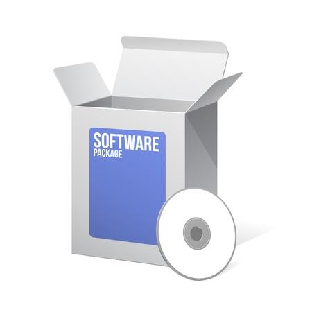 Paquete de Software caja de cartón en blanco abierto blanco y azul con disco CD o DVD